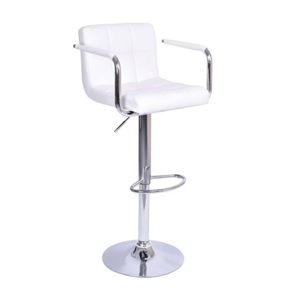 Tempo Kondela Barová stolička biela ekokoža/chróm LEORA 2 NEW