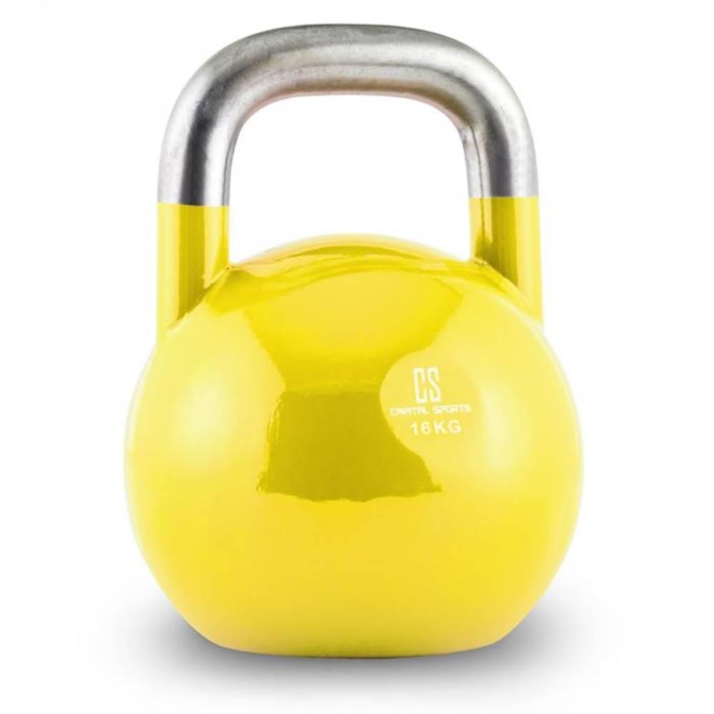 Capital Sports Capital Sports Compket 16, žltý, 16 kg, súťažný kettlebell, guľatá činka