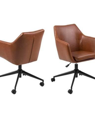 Hnedá kancelárska stolička na kolieskach z umelej kože Actona Nora