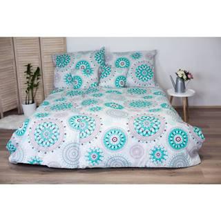 Bavlnené obliečky na jednolôžko s tyrkysovým dekorom Cotton HoMandala, 140x200 cm
