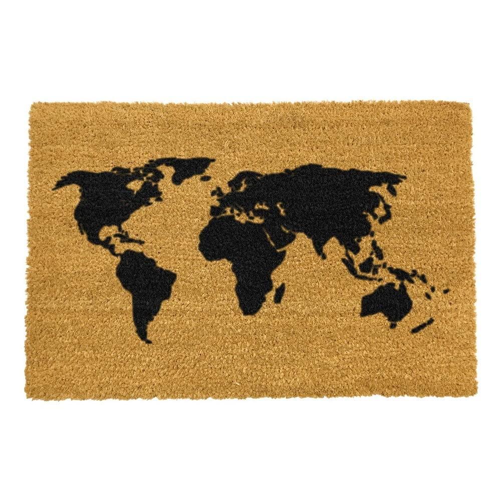 Artsy Doormats Rohožka z prírodného kokosového vlákna Artsy Doormats World Map, 40 x 60 cm
