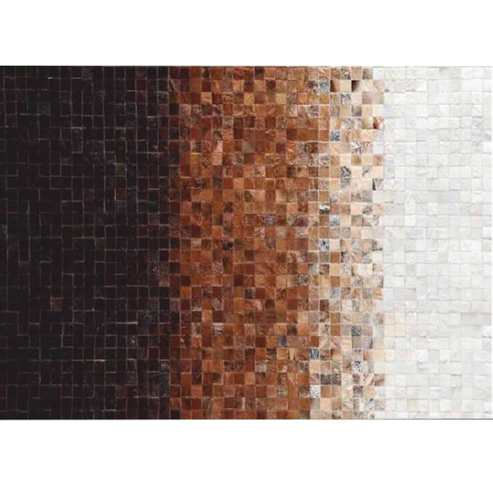 Tempo Kondela Luxusný kožený koberec biela/hnedá/čierna patchwork 140x200 KOŽA TYP 7
