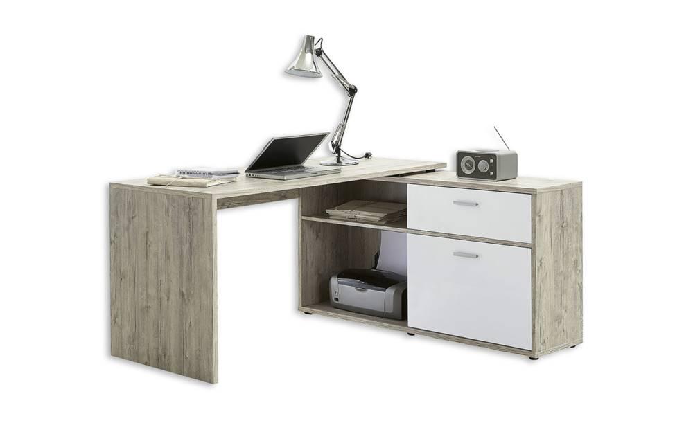Sconto Písací stôl DIEGO 1 dub pieskový/biela vysoký lesk